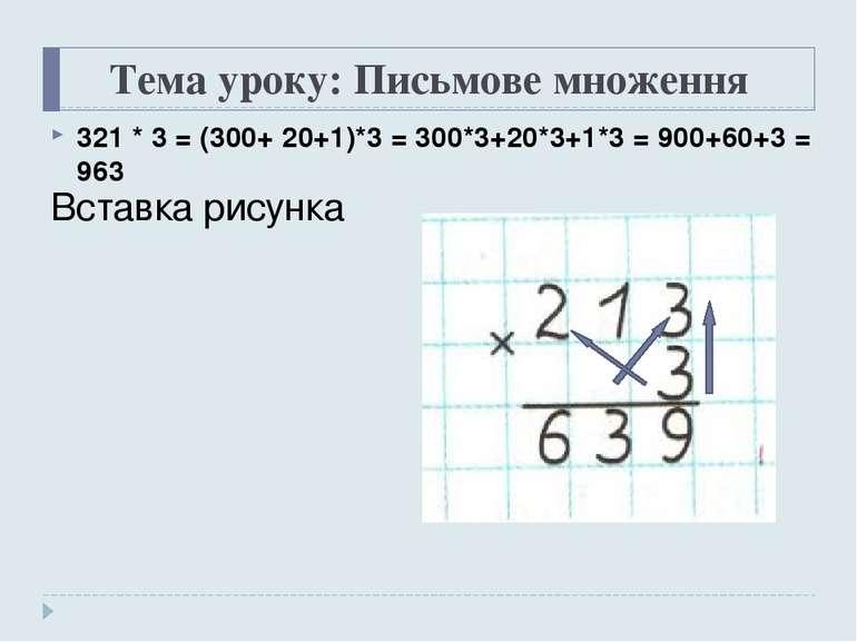 Тема уроку: Письмове множення 321 * 3 = (300+ 20+1)*3 = 300*3+20*3+1*3 = 900+...