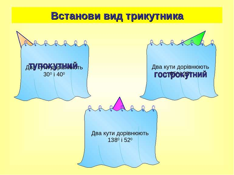 Встанови вид трикутника