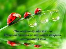 Шостий колір щастя - це Природа,бачити велич нашої природи, милуватися нею