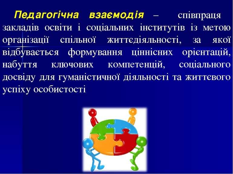 Педагогічна взаємодія – співпраця закладів освіти і соціальних інститутів із ...