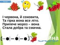 І червона, й соковита, Та гірка вона все літо. Припече мороз – вона Стала доб...