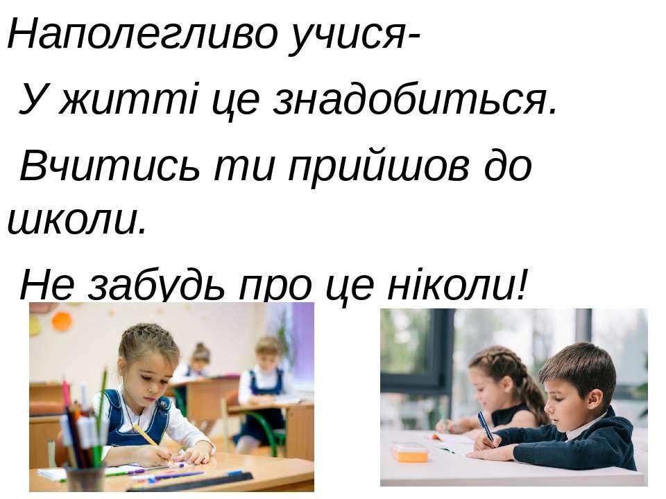 Наполегливо учися- У житті це знадобиться. Вчитись ти прийшов до школи. Не за...