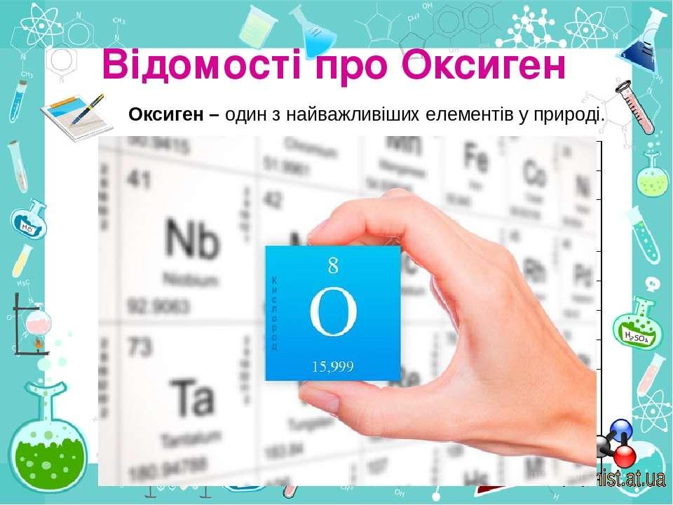Відомості про Оксиген Оксиген – один з найважливіших елементів у природі. Наз...