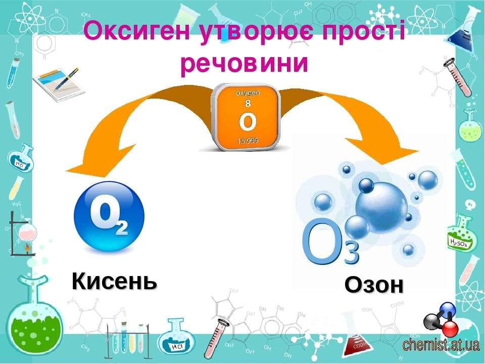 Оксиген утворює прості речовини Кисень Озон