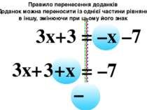 3x +x = –7 3 + – Правило перенесення доданків Доданок можна переносити із одн...