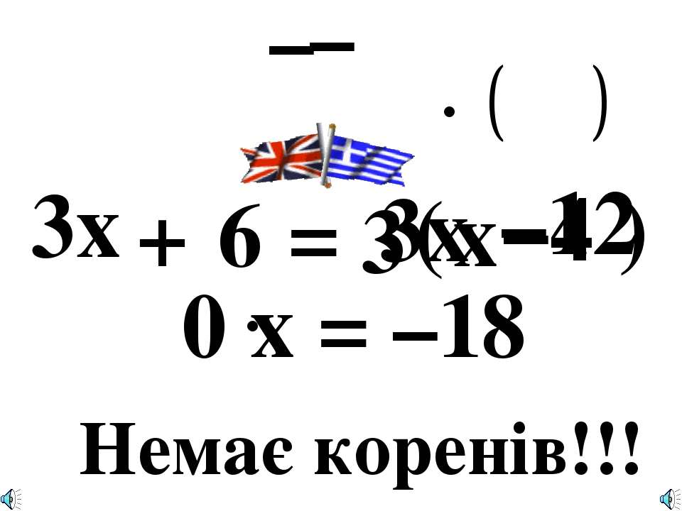 3x + 6 = 3 ( x –4 ) –12 – 3x – 0 x = –18 Немає коренів!!!