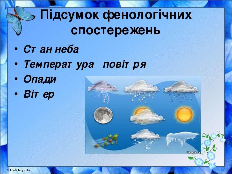 Підсумок фенологічних спостережень Стан неба Температура повітря Опади Вітер