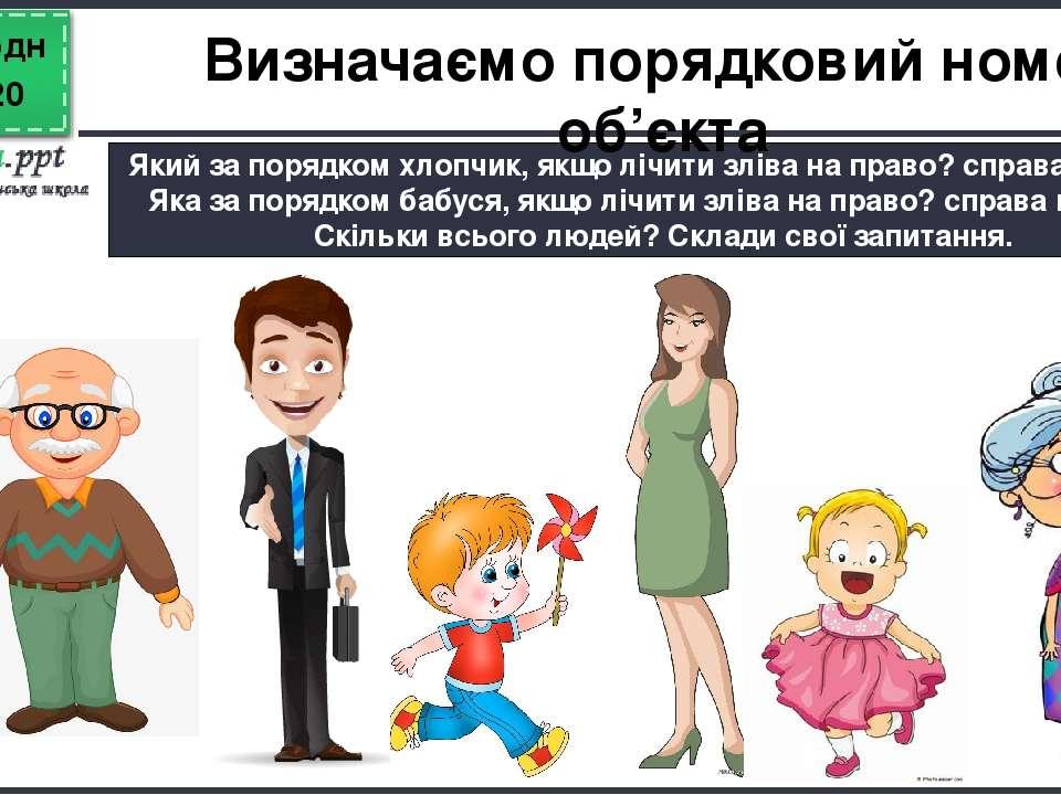 Сьогодні Який за порядком хлопчик, якщо лічити зліва на право? справа на ліво...