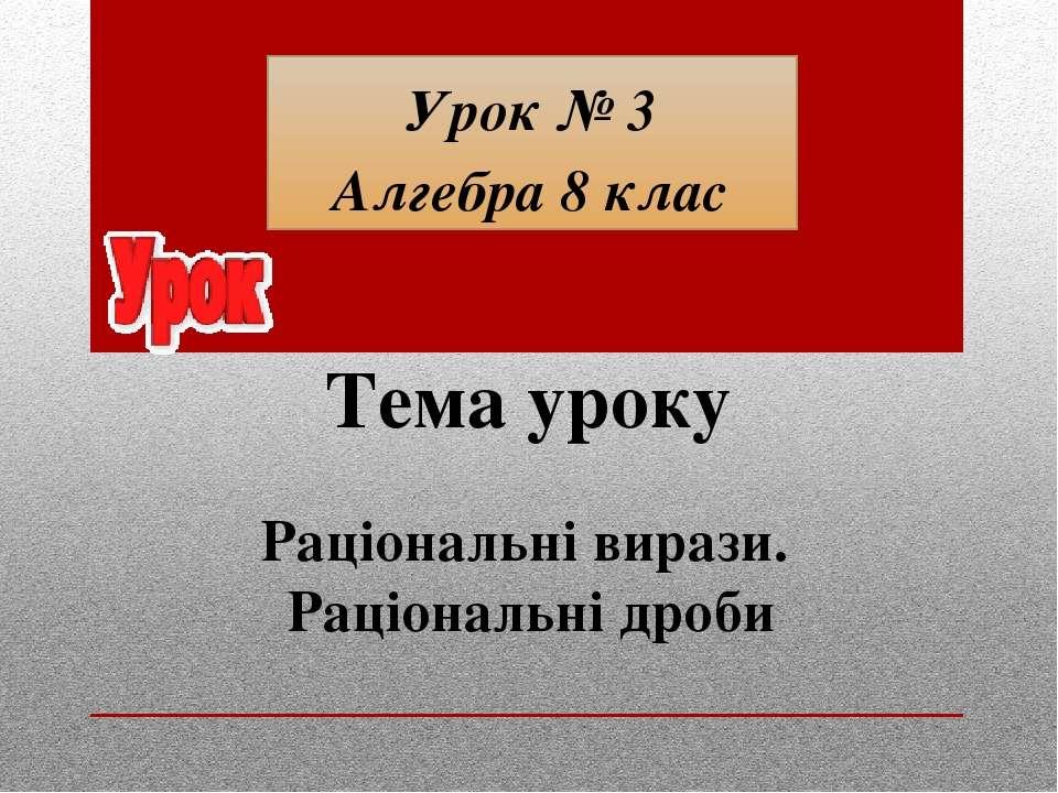 Урок № 3 Алгебра 8 клас Раціональні вирази. Раціональні дроби Тема уроку