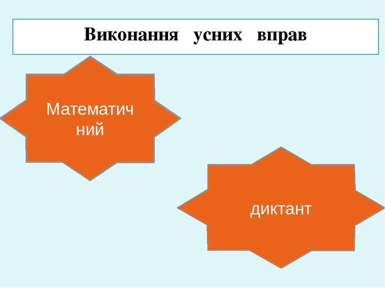 Виконання усних вправ Математичний диктант