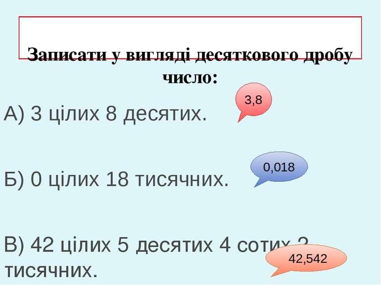 Записати у вигляді десяткового дробу число: А) 3 цілих 8 десятих. Б) 0 цілих ...
