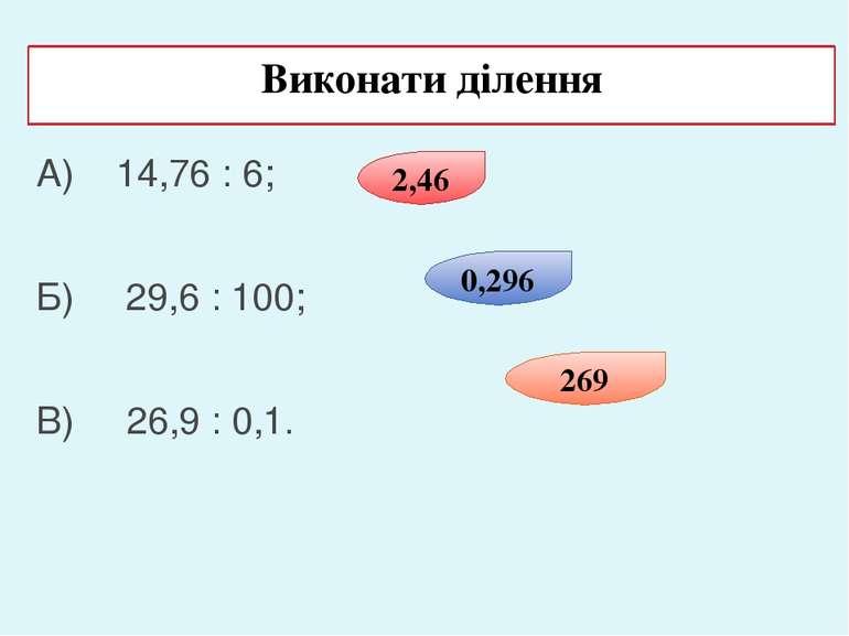 Виконати ділення А) 14,76 : 6; Б) 29,6 : 100; В) 26,9 : 0,1. 2,46 0,296 269