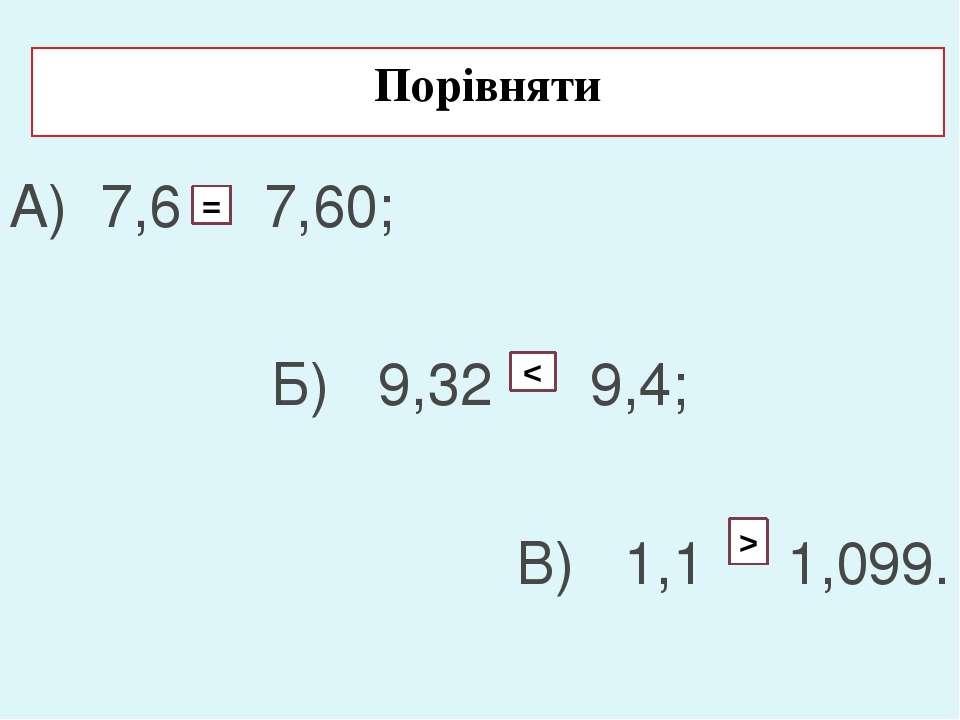Порівняти А) 7,6 7,60; Б) 9,32 9,4; В) 1,1 1,099. = < >