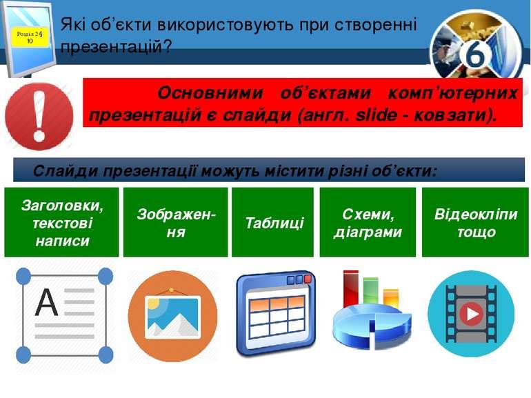 Які об'єкти використовують при створенні презентацій? Слайди презентації можу...
