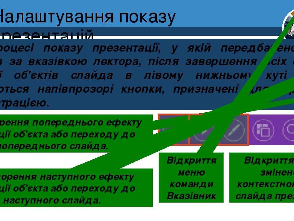 Налаштування показу презентацій Розділ 2 § 12 У процесі показу презентації, у...