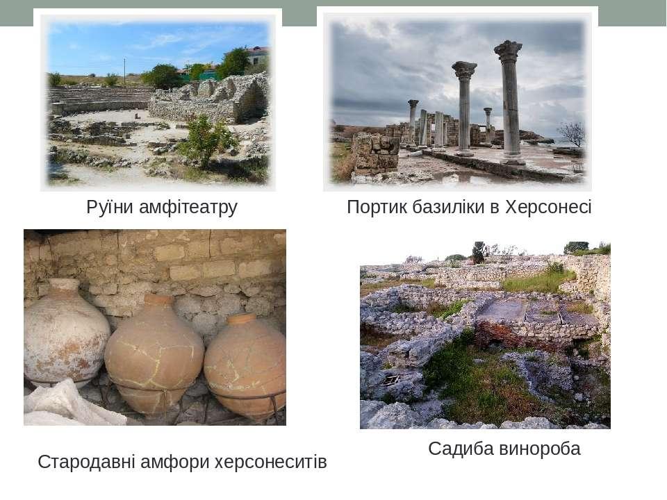 Садиба винороба Стародавні амфори херсонеситів Руїни амфітеатру Портик базилі...