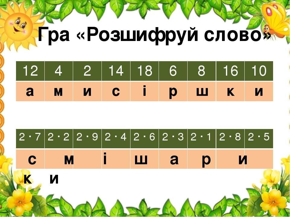 Гра «Розшифруй слово» с м і ш а р и к и 12 4 2 14 18 6 8 16 10 а м и с і р ш ...