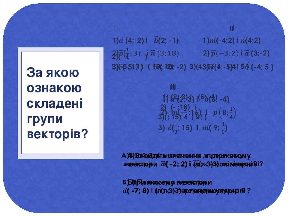 I II 2)( і ) 3)(-5; 1) і ( 10; -2) 3)(4;-5) і (-4; 5 ) III 1) (2; 3) і (6; -4...