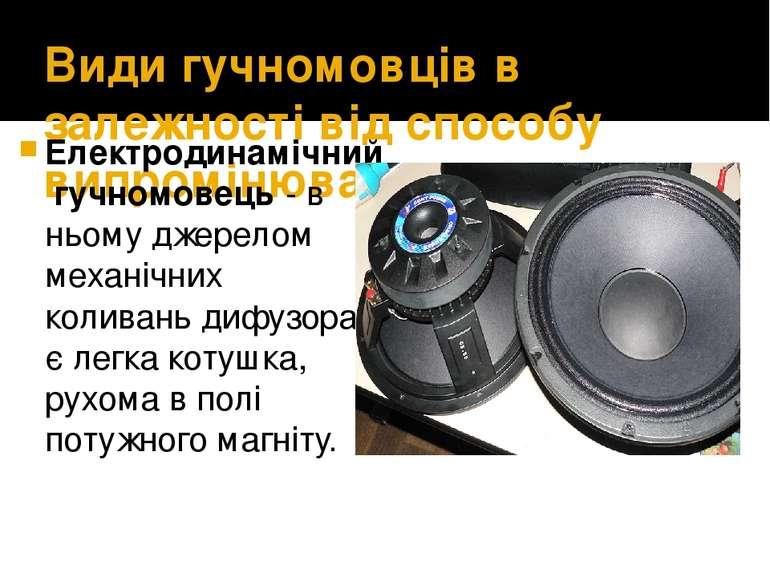 Види гучномовців в залежності від способу випромінювання звуку Електродинаміч...