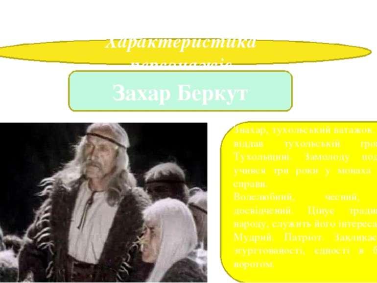 """Іван Франко. Повість """"Захар Беркут"""" Характеристика персонажів Захар Беркут Зн..."""