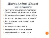 Дисципліни Легкої атлетики ДИСЦИПЛІНИ ЛЕГКОЇ АТЛЕТИКИ Спринтерський біг: 100 ...