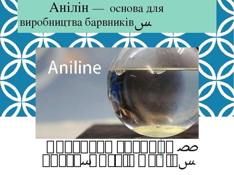 Анілін — основа для виробництва барвників. Виконала учениця 10 класу, Антків ...
