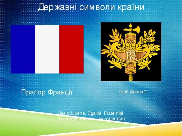 Державні символи країни Прапор Франції Герб Франції Девіз: Liberté, Égalité, ...