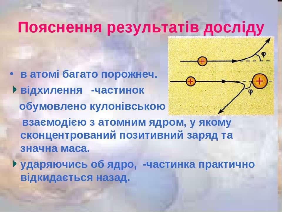 Пояснення результатів досліду в атомі багато порожнеч. відхилення ⍶-частинок ...