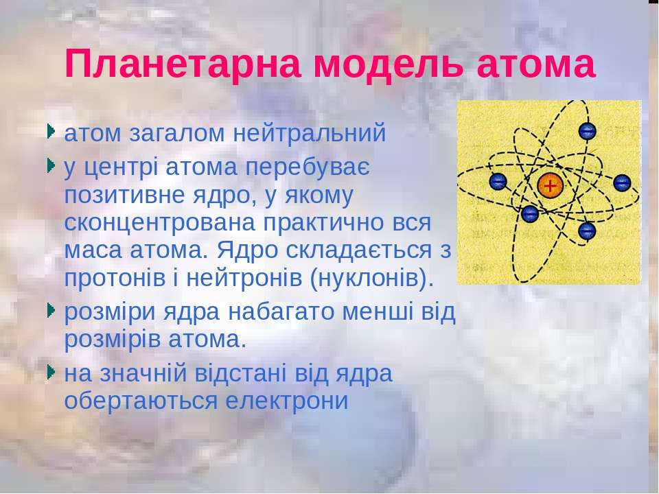 Планетарна модель атома атом загалом нейтральний у центрі атома перебуває поз...