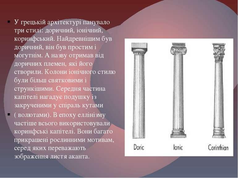 У грецькій архітектурі панувало три стилі: доричний, іонічний, коринфський. Н...