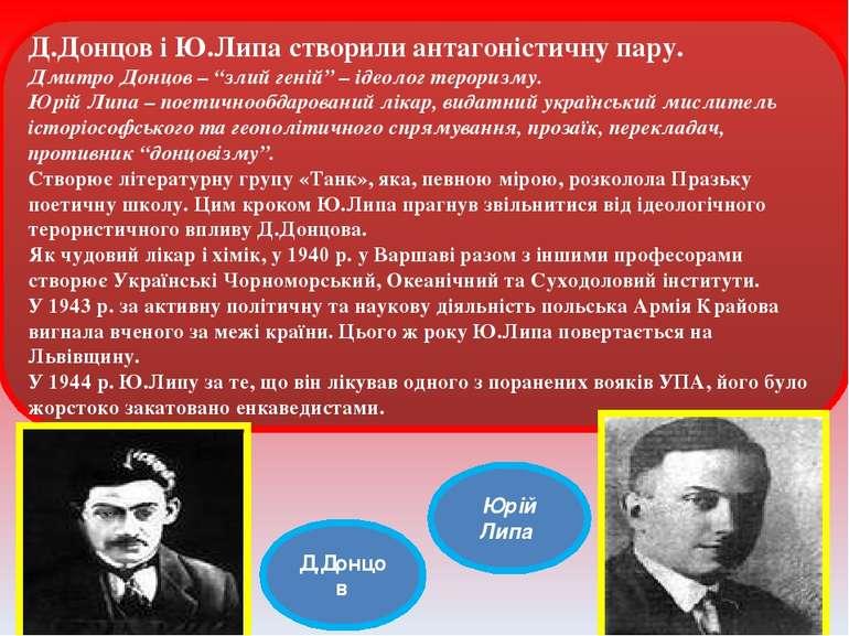 Ю.Липа Ю.Липа Ю.Липа Д.Донцов і Ю.Липа створили антагоністичну пару. Дмитро Д...
