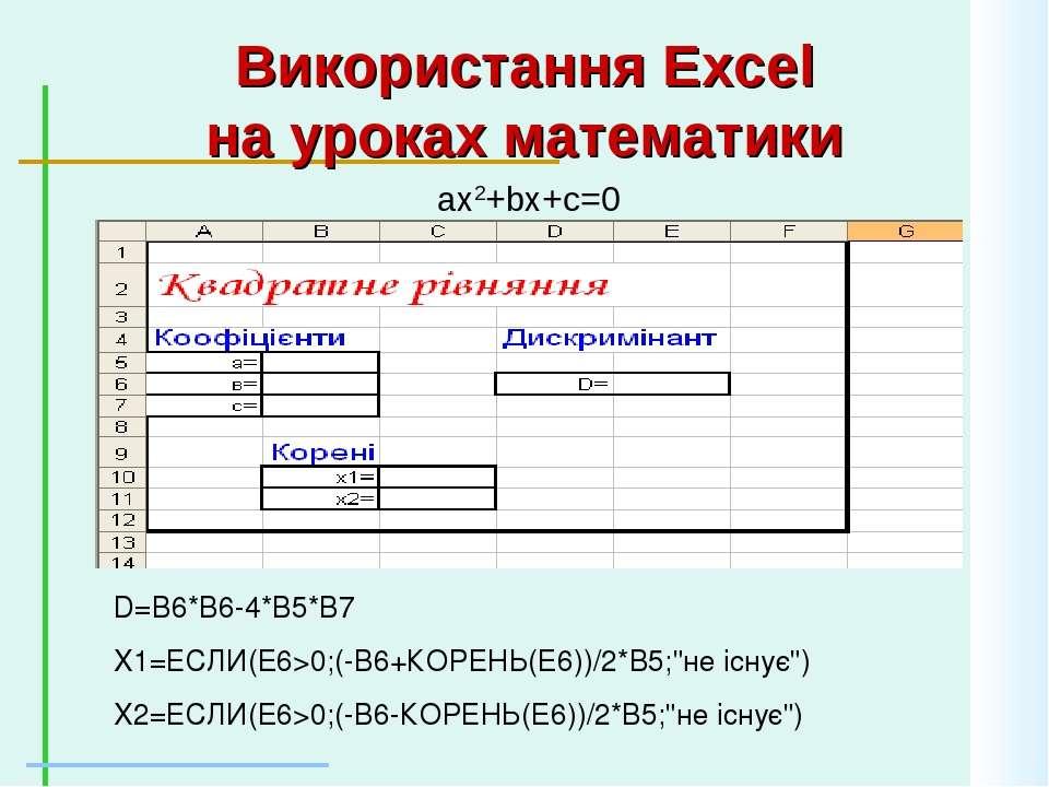Використання Excel на уроках математики ax2+bx+c=0 D=B6*B6-4*B5*B7 X1=ЕСЛИ(E6...