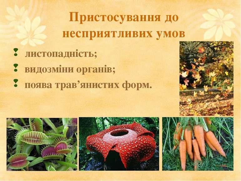 Пристосування до несприятливих умов листопадність; видозміни органів; поява т...
