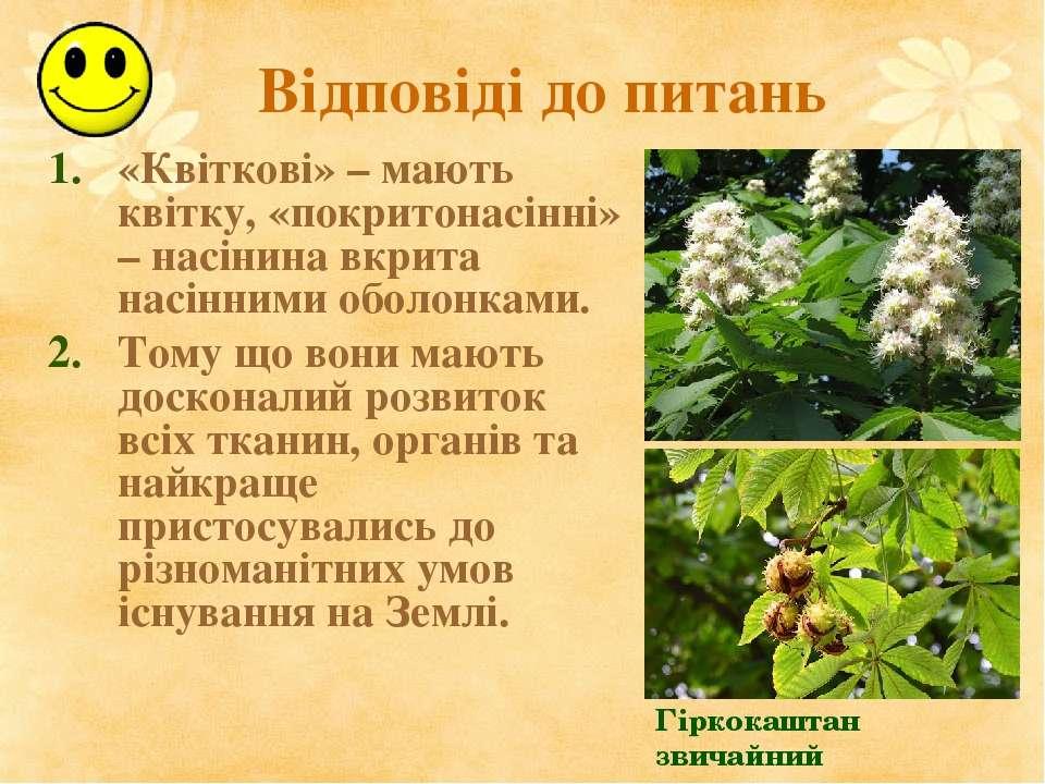 Відповіді до питань «Квіткові» – мають квітку, «покритонасінні» – насінина вк...