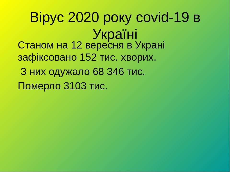 Вірус 2020 року covid-19 в Україні Станом на 12 вересня в Украні зафіксовано ...