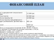 ФІНАНСОВИЙ ПЛАН Прибуток до оподаткування становитиме:62400 –48 000 =144...