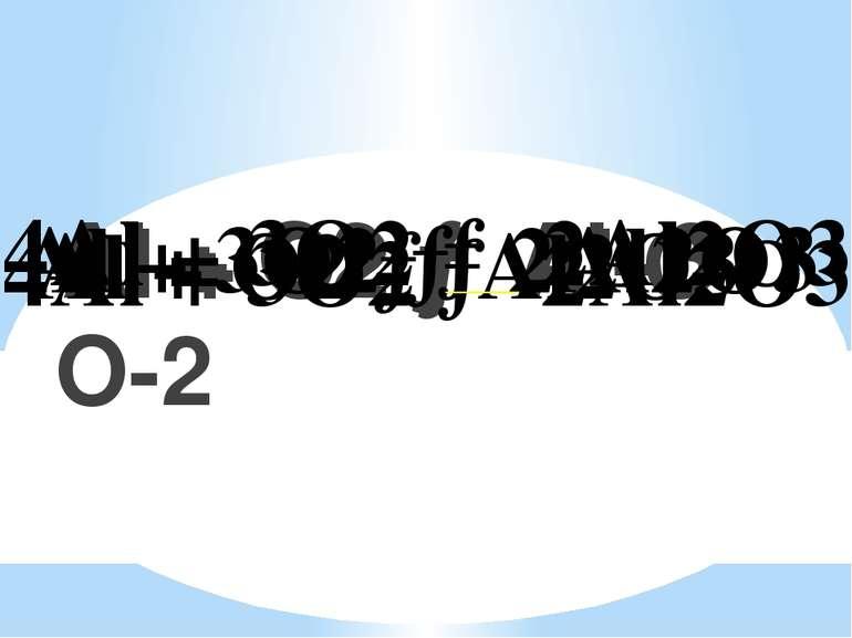 Al + O2 → Al O Al + O2 → Al+3 O-2 Al + O2 → Al2O3 Al + 3O2 → 2Al2O3 4Al + 3O2...