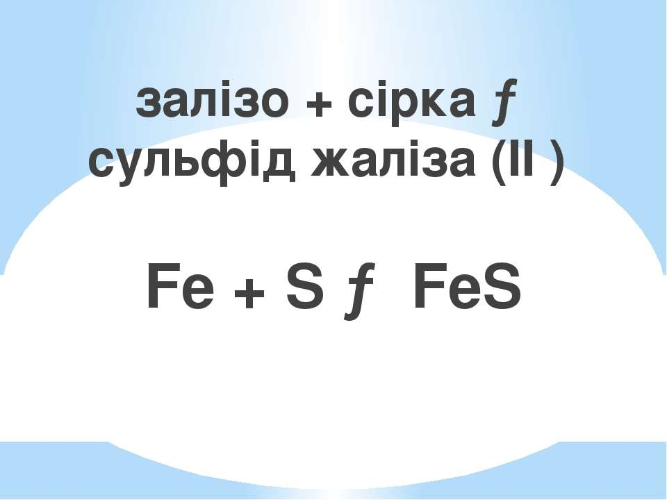 залізо + сірка → сульфід жаліза (II ) Fe + S → FeS