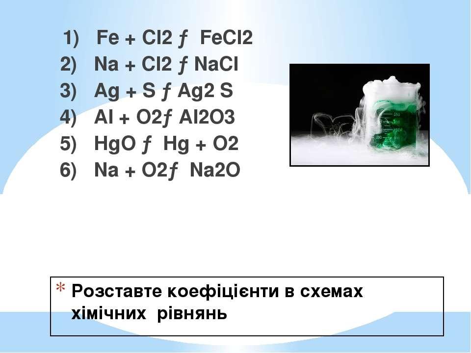 Розставте коефіцієнти в схемах хімічних рівнянь 1) Fe + Cl2 → FеСІ2 2) Na + С...