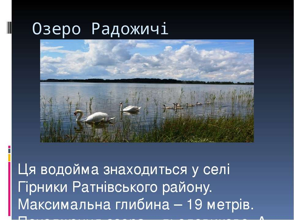 Озеро Радожичі Ця водойма знаходиться у селі Гірники Ратнівського району. Мак...