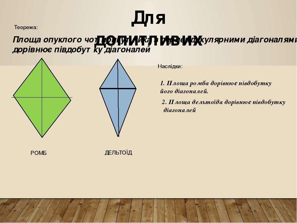 Для допитливих Площа опуклого чотирикутника з перпендикулярними діагоналями д...