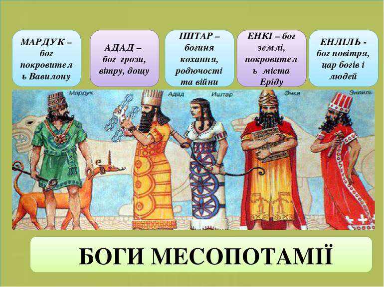МАРДУК – бог покровитель Вавилону АДАД – бог грози, вітру, дощу ІШТАР – богин...