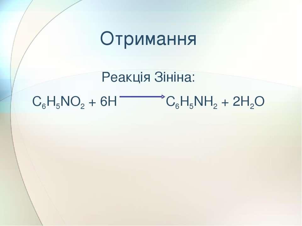 Реакція Зініна: C6H5NO2 + 6H C6H5NH2 + 2H2O Отримання