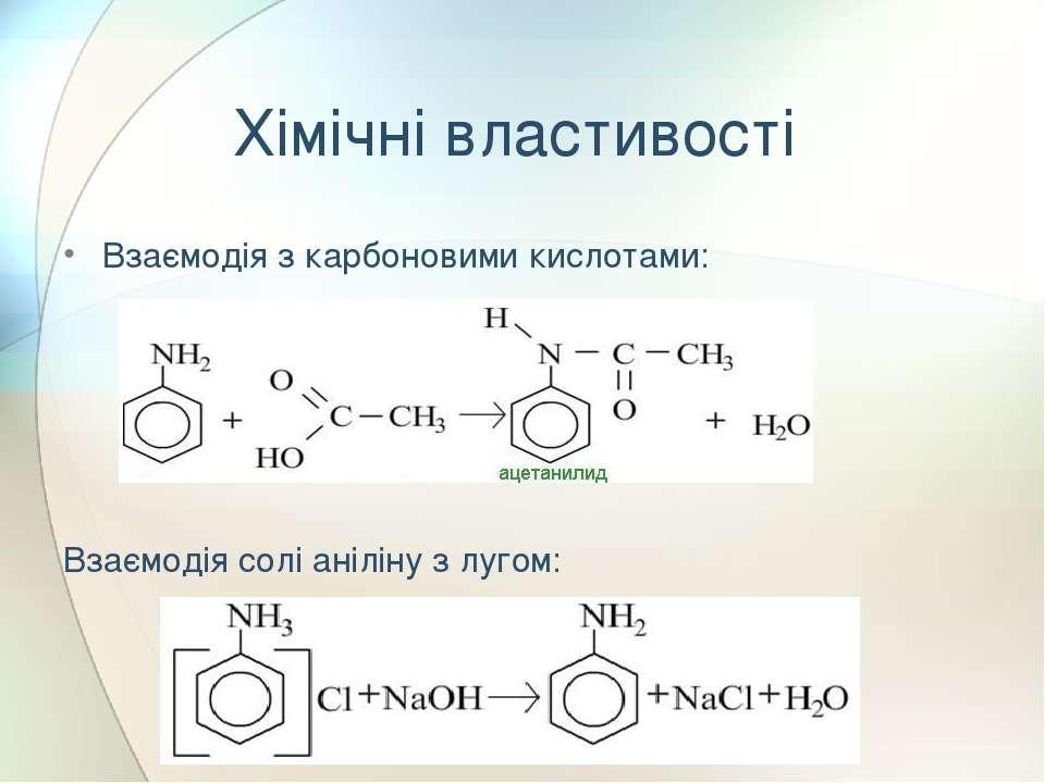 Хімічні властивості Взаємодія з карбоновими кислотами: Взаємодія солі аніліну...
