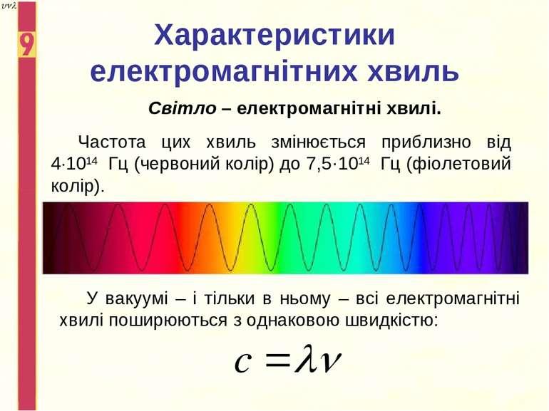 Характеристики електромагнітних хвиль Світло – електромагнітні хвилі. Частота...