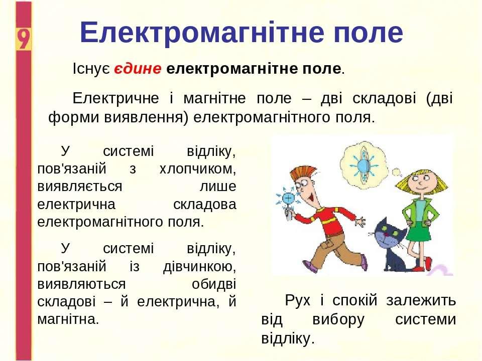 Електромагнітне поле Існує єдине електромагнітне поле. Електричне і магнітне ...
