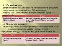 3.«Т» замість «ф» Запропоновано кілька варіантів написання слів грецького п...