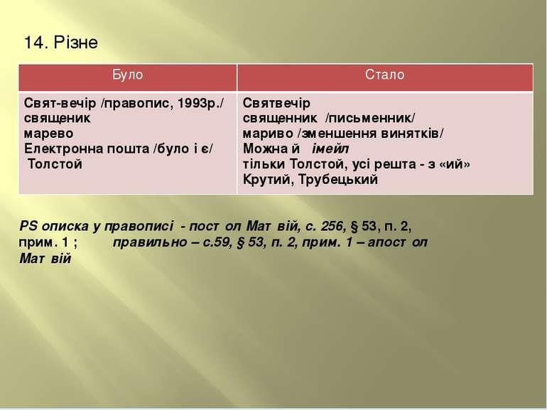 14. Різне РS описка у правописі - по стол Матві й, с. 256, § 53, п. 2, прим. ...