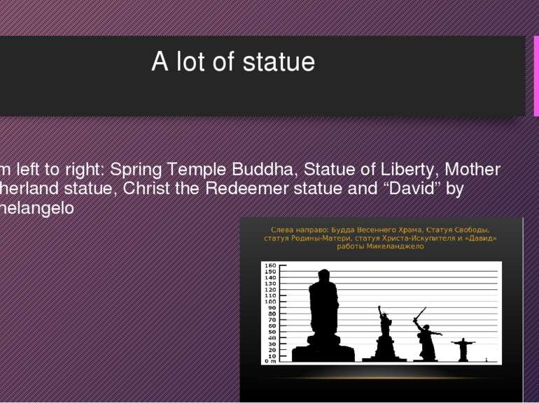 A lot of statue From left to right: Spring Temple Buddha, Statue of Liberty, ...