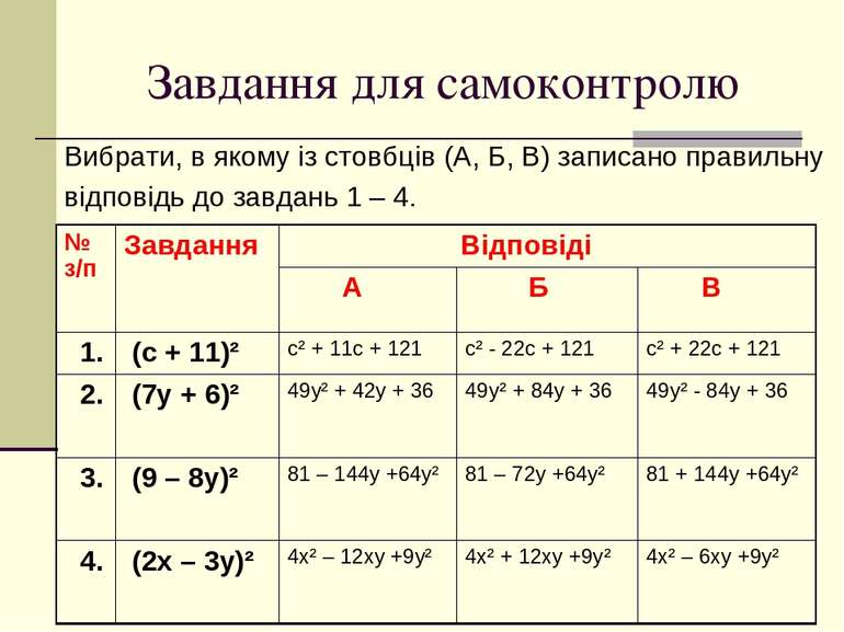 Завдання для самоконтролю Вибрати, в якому із стовбців (А, Б, В) записано пра...